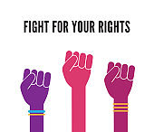 Female woman feminism protest hands background vector