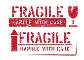 Fragile handle with care, arrow up grungy vector symbols for logistics