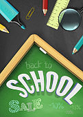 Back to school sale vector concept with school supplies and discounts on green chalkboard backround with wet rag effect