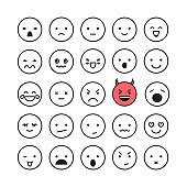 Emoticon smile face icon set vector illustration isolated on white