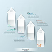 Infographic design layout with 4 numbered upward pointing arrows and text boxes