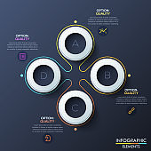 Modern infographic design template with 4 white rings and letters inside, flower petal diagram