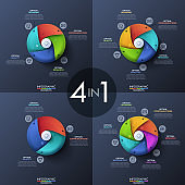 Bundle of four infographic design templates, circular diagrams with 3, 4, 5 and 6 spiral elements, start button in center, icons and text boxes