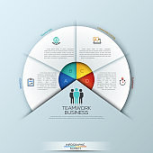 Circular infographic design template with 4 sectoral elements