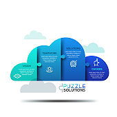 Modern infographic design layout, jigsaw puzzle in shape of cloud