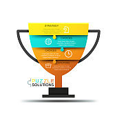 Modern infographic design template, jigsaw puzzle in shape of champion cup