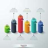 infographic template Modern cylinder bar chart Design.