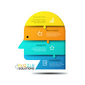 Modern infographic design template, jigsaw puzzle in shape of human head