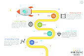 Modern infographic design template with flying rocket, 4 numbered circular elements, linear pictograms and text boxes