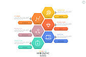 Simple infographic design layout. Six multicolored hexagonal elements, pictograms and arrows pointing at text boxes