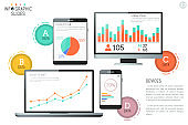 Infographic design template. Diagrams, graphs and bar charts on screens of electronic devices
