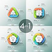 Set of four unusual infographic design templates.
