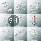 Collection of 9 modern infographic design templates