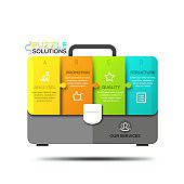 Infographic design template, jigsaw puzzle in shape of briefcase divided into 4 lettered pieces