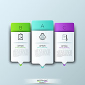 Modern infographics template with futuristic paper shapes and icons for 3 options