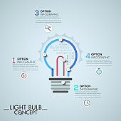 Infographic design template with elements connected by lines in shape of light bulb
