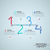 Infographic design template with elements connected by lines in shape of four numbers