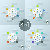 Collection of 4 creative infographic design templates