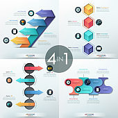 Set of 4 modern infographic design templates