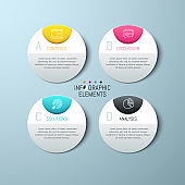Four separate round paper white elements with letters, icons and text boxes. Modern infographic design template.