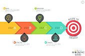 Minimalistic infographic design layout. Horizontal arrow consisted of 4 lettered elements and pointing at target