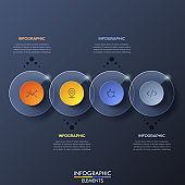 Infographic design template with 4 overlapped transparent circular elements on dark background