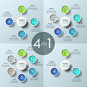 Bundle of four infographic design layouts