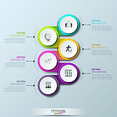 Infographic design template with 6 multicolored successively connected circular elements