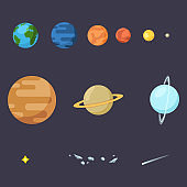 Vector Set of Color Flat Space Icons. Solar Systems Planets, Star, Comet and Asteroids.