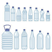 Vector Set of Cartoon Plastic Bottles of Water