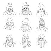 Vector Set of Outline Santa Claus Characters.