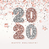 Happy Holidays festive Banner with glowing Rose Gold 2020 Numbers on white Background with falling geometric and foil paper Confetti. Vector illustration. All isolated and layered