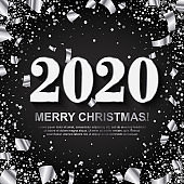 Merry Christmas Banner with Silver Numbers on black Background with scattered geometric and foil paper Confetti. Vector illustration. All isolated and layered