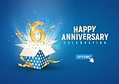 6 th years anniversary banner with open burst gift box. Template sixth birthday celebration and abstract text on blue background vector illustration.
