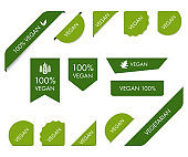 Set of organic natural label and green banner vector design.