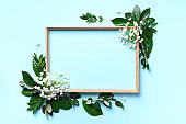 Creative layout with white flowers and copyspace over blue background. Top view, flat lay. Spring and summer concept.