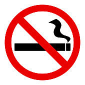 No smoke sign with black cigarette sign