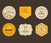 Set label and banner Honey bee vector design.