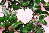 Tropical nature background with green leaves and pink heart shaped paper for copy space. Top view. Flat lay. Creative advertising. Summer and love concept.