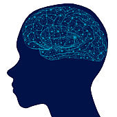 Silhouette of a human head with a brain wireframe with glowing lights. Side view. Vector illustration.
