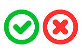 Green checkmark ok and red cross x icons as positive and negative symbols isolated on white background