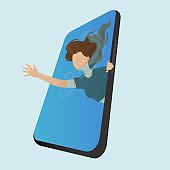 A young girld is trying to break free of mobile phone addiction