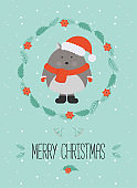 Cute christmas woodland character. Merry christmas card with cute wolf in winter clothes. New Year greeting cards. Hand drawn lettering. Christmas wreath.