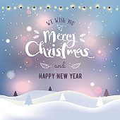 Christmas and New Year typographical on background with winter landscape with Northern Lights, snowflakes, light, stars and garland. Xmas card. Vector Illustration.