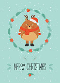 Cute christmas woodland character. Merry christmas card with cute deer in winter clothes. New Year greeting cards. Hand drawn lettering. Christmas wreath.