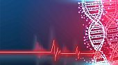 DNA molecule helix spiral on blue. Medical science, genetic biotechnology, chemistry biology, gene cell concept low poly wireframe mesh design. red laser surgeon technology, vector illustration