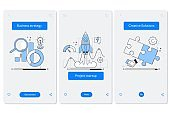 Cooperation and interaction onboarding mobile app page screen with linear concepts. Line pictograms and infographics design elements