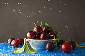Ripe red juicy cherry in a plate and water drops, summer bright concept