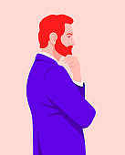 Portrait of a businessman in profile. Problems and solutions. Search for an idea.