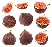 Figs isolated. Whole fresh ripe berry or fruit, half Fig and  cut slice set isolated on  white background with clipping path as  package design element
